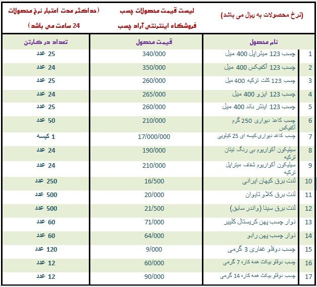 لیست قیمت انواع چسب